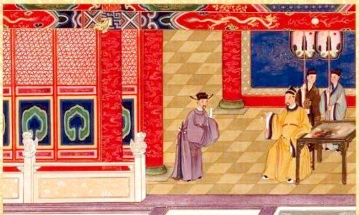 송나라 인종 황제를 그린 작품. 당후주 시기 서적인 '성제명왕선단록(聖帝明王善端錄)'에 수록됐다. 진사관(陳士倌)의 작품. 인종 황제는 나라에 재난이 있을 때면, 자신의 생각과 행동이 하늘의 뜻에 어긋남이 있었는지를 살폈다. | 퍼블릭 도메인