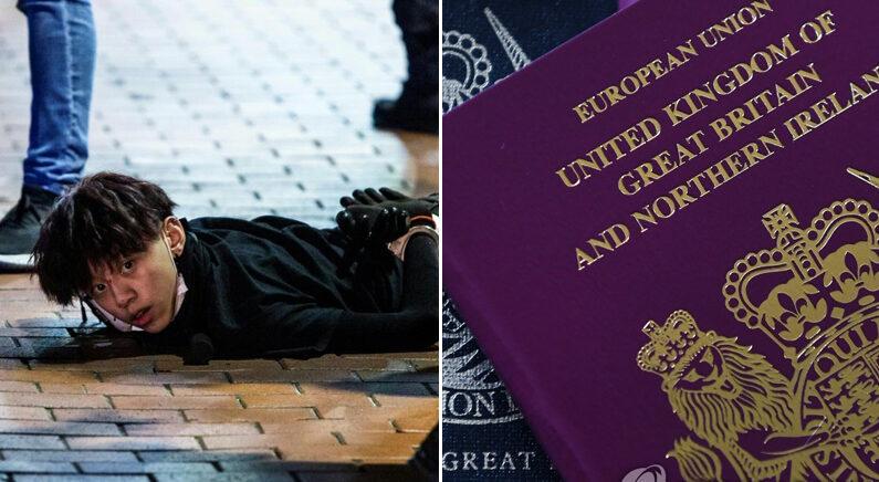 [좌] 시위에 참가한 12살 소년 | AFP=연합뉴스 [우] 영국 여권 | EPA=연합뉴스