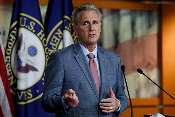 2020년 5월 15일, 워싱턴 D.C. 미국 국회의사당에서 케빈 매카시(Kevin McCarthy) 연방하원 공화당 원내대표가 연설했다.   Olivier DOULIERY/AFP