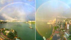 홍콩 시위 1주년, 홍콩 하늘에 거대한 '무지개'가 떴습니다