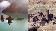 호수에 잠겨 있던 이탈리아 12세기 마을, 수면 위로 공개된다