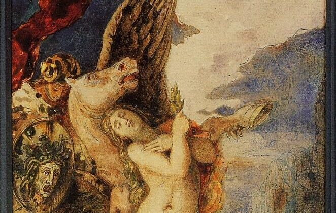 귀스타브 모로(Gustave Morau), 1867-1869년, '페르세우스와 안드로메다' 부분. 개인 소장.   Public Domain