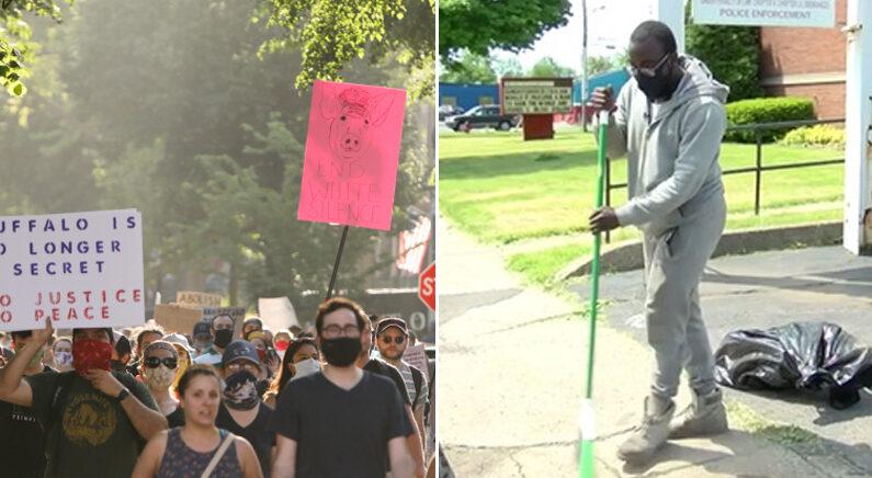 [좌] 지난 5일 뉴욕 버펄로 시위대 | 로이터연합뉴스 [우] CNN