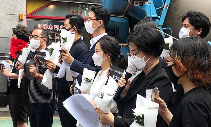 지난 4일 톈안문 사태 31주기 추모식 및 홍콩보안법 철회 요구 기자회견 참여자들이 발언하고 있다 | 에포크타임스