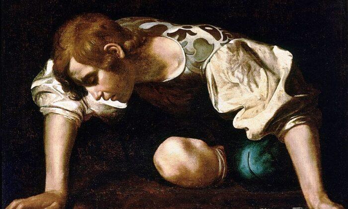 카라바조의 '나르시스(Narcissus)' 부분, 1598–1599년, 국립고대미술관(National Gallery of Ancient Art), 로마. |Public Domain