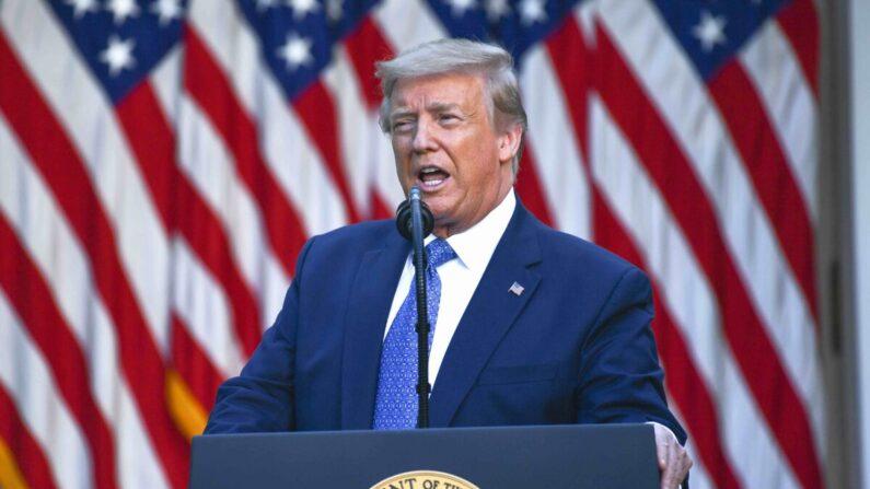 도널드 트럼프 미국 대통령이 지난 1일 백악관 로즈 가든에서 발언하고 있다. | BRENDAN SMIALOWSKI/AFP via Getty Images