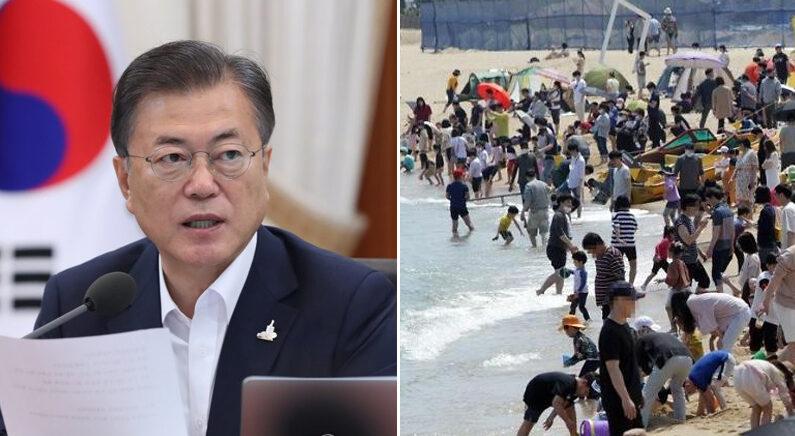 [좌] 21일 오전 청와대에서 국무회의를 주재하는 문재인 대통령 [우] 바닷가에서 연휴를 즐기는 시민들 | 연합뉴스