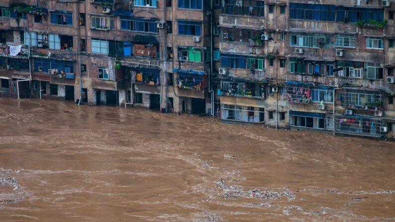 지난 1일 폭우로 침수된 중국 충칭시 치장현 주택지역 | 연합뉴스