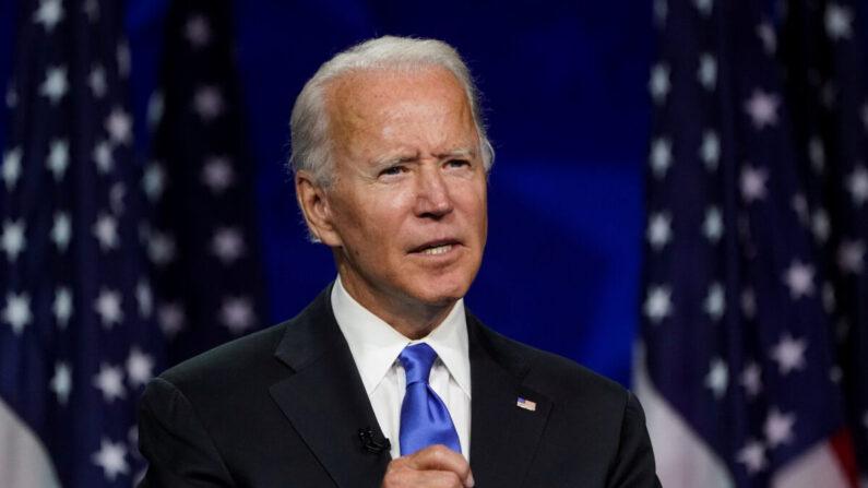 조 바이든 전 미국 부통령이 2020년 8월 20일 미국 델라웨어주 윌밍턴의 체이스 센터에서 온라인 중계로 열린 2020 민주당 전당대호에서 대통령 후보 지명 수락 연설을 하고 있다. | 로이터=연합뉴스