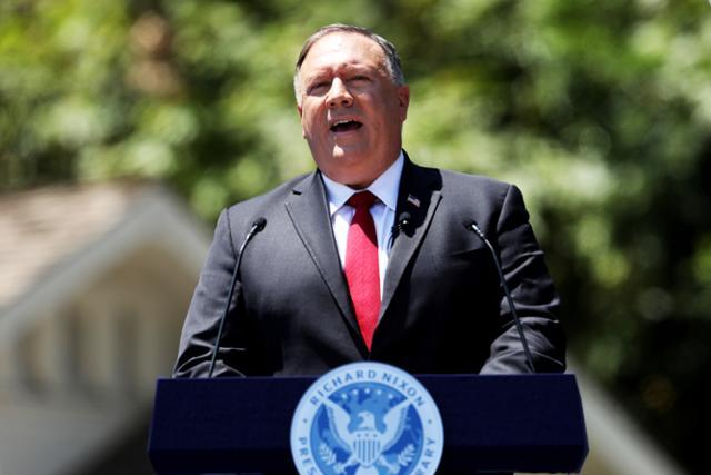 마이크 폼페이오 미국 국무장관이 23일 미국 캘리포니아주 리처드 닉슨 대통령 도서관에서 중국 공산당에 맞설 것을 촉구하는 연설을 하고 있다. | EPA=연합뉴스