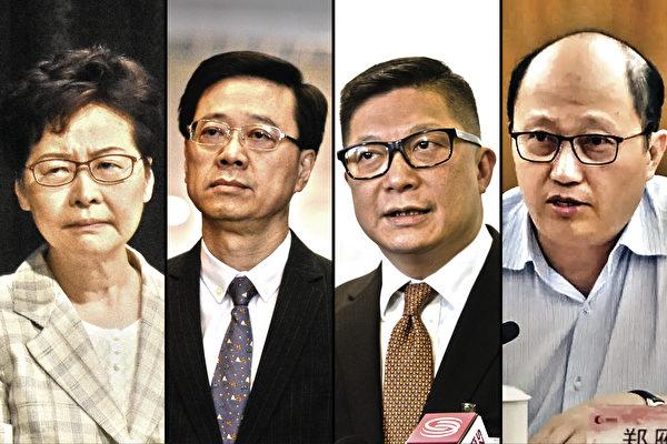 미국의 제재명단에 오른 홍콩 관리들. 왼쪽부터 캐리 람 행정장관, 존 리 보안국장, 크리스 탕 경무처장, 홍콩 국가안전공서 정옌슝 서장 | 에포크타임스
