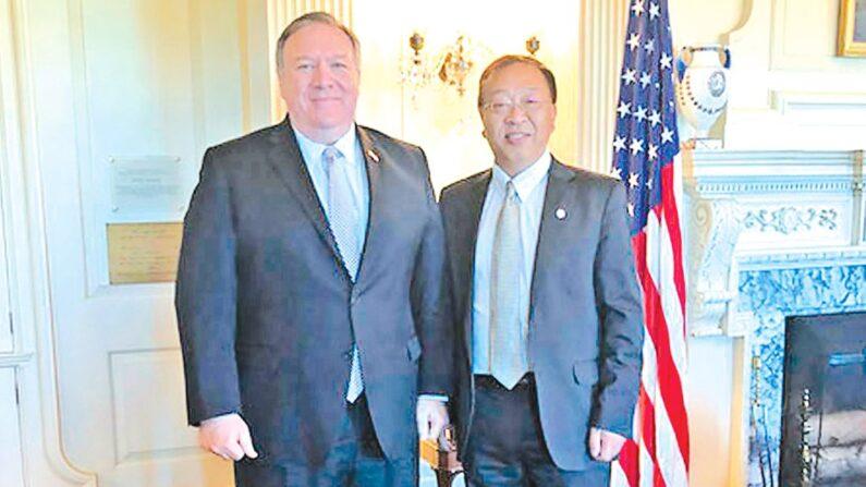 마이크 폼페이오 미 국무장관(왼쪽)과 위마오춘(오른쪽) | 미 국무원 홈페이지 캡처