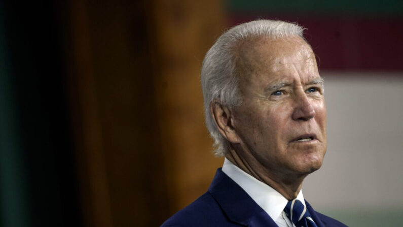 민주당 대선 후보인 조 바이든 전 부통령이 2020년 7월 21일(현지 시각) 미국 델라웨어주 뉴캐슬 콜위크센터에서 열린 행사에서 연설하고 있다. | Drew Angerer/Getty Images
