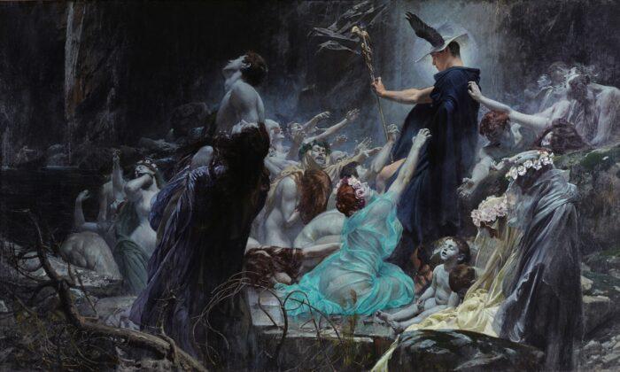 아돌프 히레미-히르슐의 '아케론 강가의 영혼들', 1898년, 오스트리아 벨베데레 궁전.  Pubic Domain