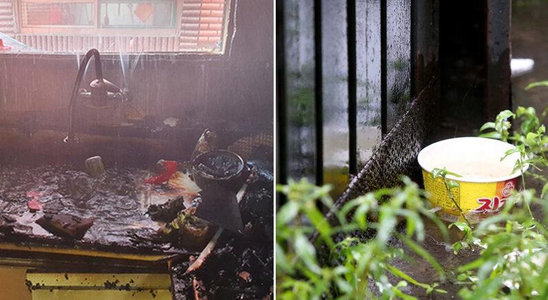 [좌] 화재 현장 | 인천 미추홀소방서 [우] 화재 현장 물청소 중 떠밀려 온 라면