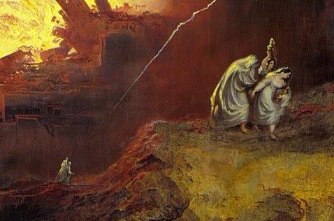 악을 돌아본 롯의 아내는 악과 함께 파멸한다. 존 마틴(John Martin), 1852년, '소돔과 고모라의 파멸' 부분, 영국 라잉 아트 갤러리 | Public Domain