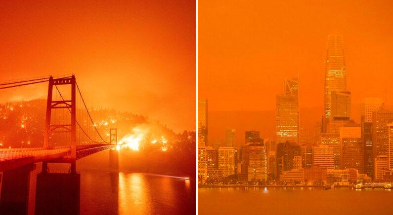 [좌] 9일 산불로 연무에 휩싸인 금문교 일대   AP 연합뉴스 [우] 샌프란시스코 도심 하늘   AFP연합뉴스