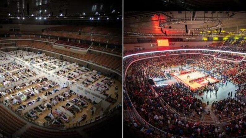 [좌] 코로나19 임시병원으로 쓰이던 당시 [우] 농구경기가 열리는 우한스포츠센터 | 신화통신=연합뉴스