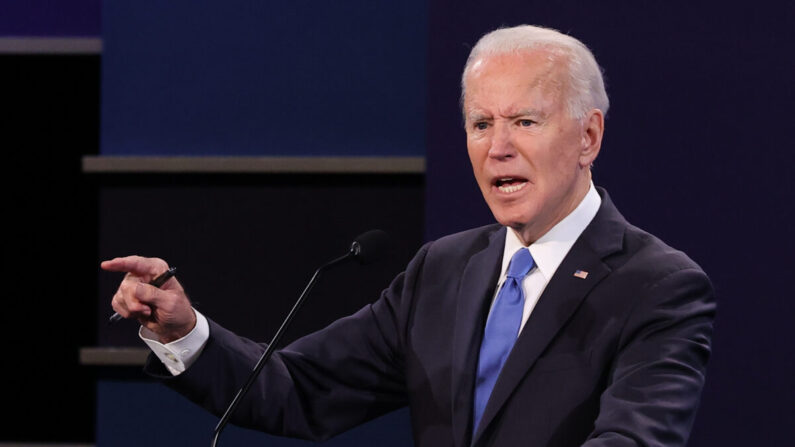 미국 민주당 조 바이든 후보가 지난 22일 대선 전 마지막 대선후보 TV토론에서 발언하고 있다. | Chip Somodevilla/Getty Images