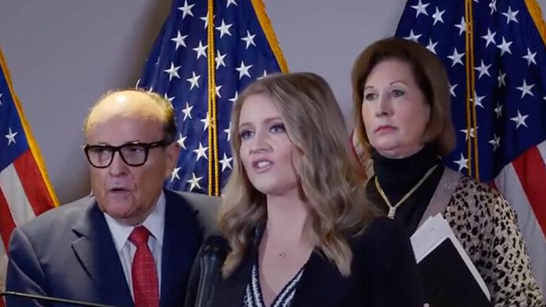 도널드 트럼프 미국 대통령 대선 캠프 선거고문 제나 엘리스 변호사(가운데) | 유튜브 화면 캡처