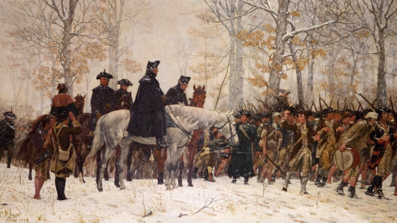 '1977년 12월 19일 밸리포지로의 행군'(The March to Valley Forge, December 19, 1777), 유화작품, 윌리엄 트레고(William Trego) 1883    Wikimedia commons