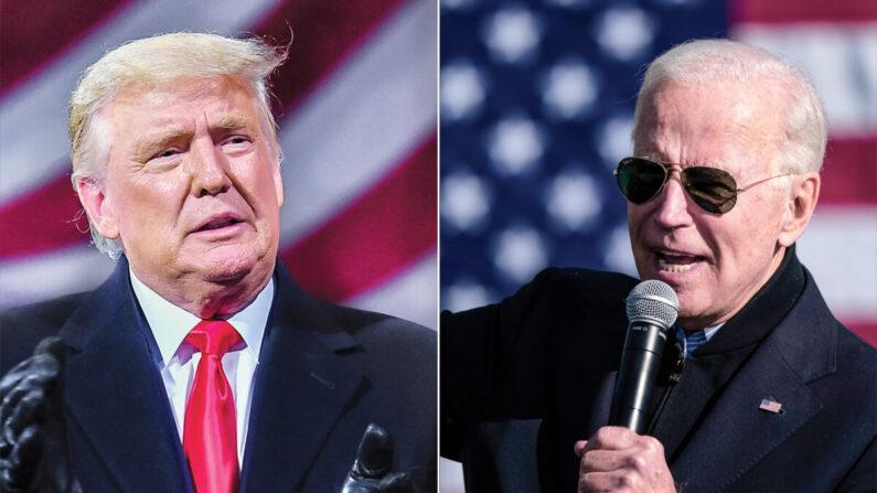 도널드 트럼프 미국 대통령(왼쪽)과 조 바이든 민주당 대선후보 |  Drew Angerer/Getty Images