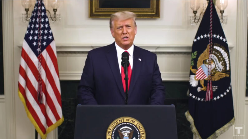 도널드 트럼프 대통령이 2일 대국민 담화 성격의 사전녹화 영상을 공개했다. | 유튜브 화면 캡처
