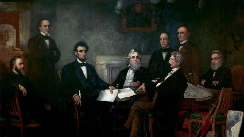 프란시스 B 카펜터, 링컨 대통령의 노예 해방선언문 첫 낭독(First Reading of the Emancipation Proclamation by President Lincoln), 유화, 9ft x 15ft, 1864년 | Public Domain