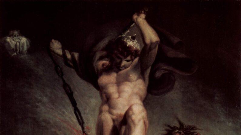 '미드가드르의 뱀과 싸우는 토르'(Thor Battering the Midgard Serpent) 부분, 1790년, 캔버스에 유채, 133 x 94.6 cm. 왕립 미술 아카데미 소장.| public domain