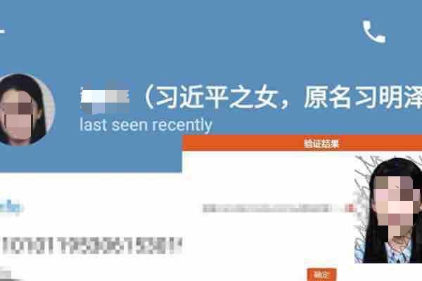 시진핑 딸의 사진과 신분증이 유출됐다. | 화면 캡처