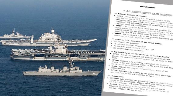 [좌] 호주 왕립 해군, 인도 해군, 일본 해상자위대와 미 해군의 함선이 미-일-인도 삼국 해군 훈련인 말라바 2020 동안 진형을 이뤄 항행하고 있다. | 미해군 제공 [우] 최근 기밀해제된 미 인도태평양 전략 문서 | 미 백악관