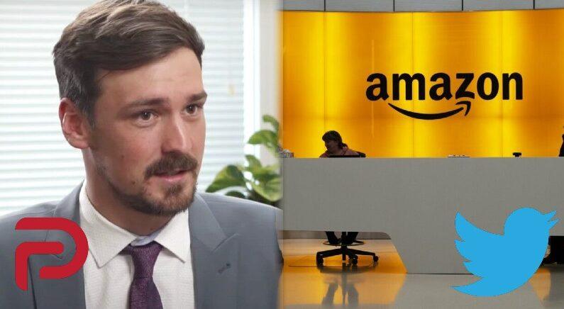 [좌] 존 매츠 팔러 CEO [우] 미국 뉴욕의 아마존 사무실 로비. | The Epoch Times; AP=연합