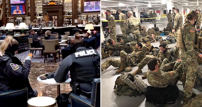 [좌] 지난 20일 워싱턴의 5성급 트럼프 호텔 로비에서 휴식하고 있는 경찰관들   트위터   [우] 지난 21일 지하주차장에서 대기하고 있는 주방위군   케빈 매카시 의원 제공