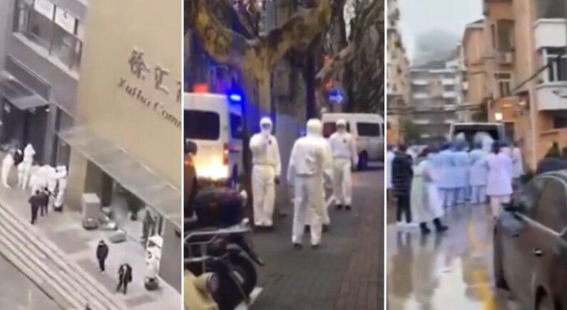 지난 23일부터 중국 상하이시내 최소 5개 구역에서 확진자가 속출한 것으로 전해졌다. 현지에서 제보한 중공 폐렴으로 추정되는 보건 긴급상황 | 영상 캡처