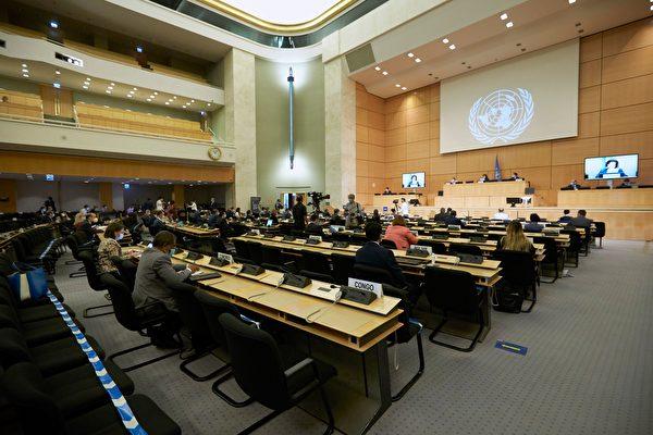 2020년 6월 30일, 유엔 유럽본부에서 열린 제44차 회의에 참석하고 있는 각국 대표들의 모습. (Denis Balibouse/Getty Images)