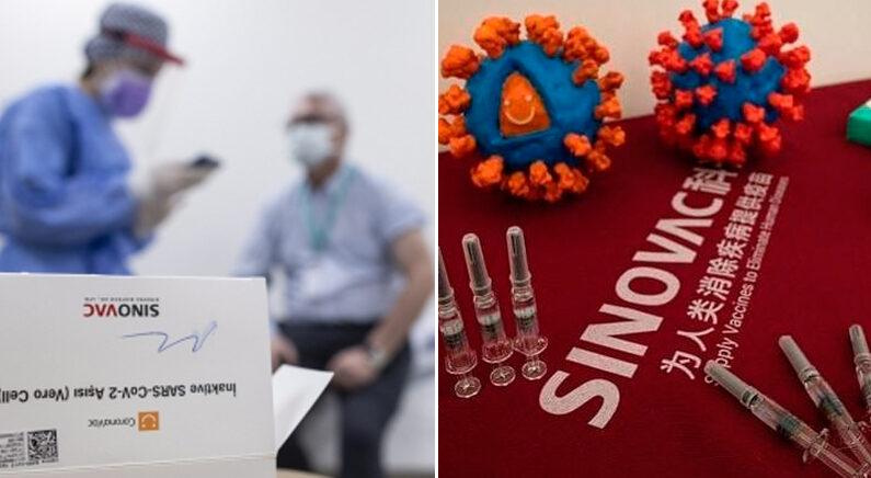 [좌] 터키의 중국산 코로나19 백신 접종 현장 | EPA 연합뉴스 [우]  중국 시노백 공장에 백신과 코로나19 모형이 전시된 모습 | AP연합뉴스