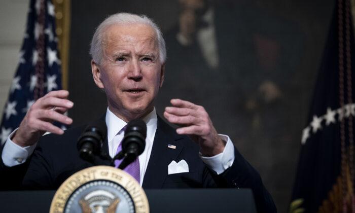 2021년 1월 26일(현지시각) 조 바이든 미국 대통령이 바이러스 백신에 대해 발언하고 있다.   Doug Mills-Pool/Getty Images