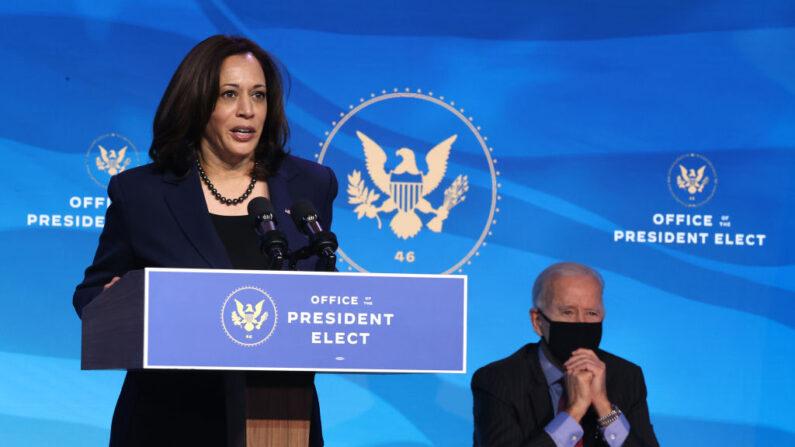 카멀라 해리스(왼쪽) 부통령 당선자와 조 바이든 대통령 당선자   Chip Somodevilla/Getty Images