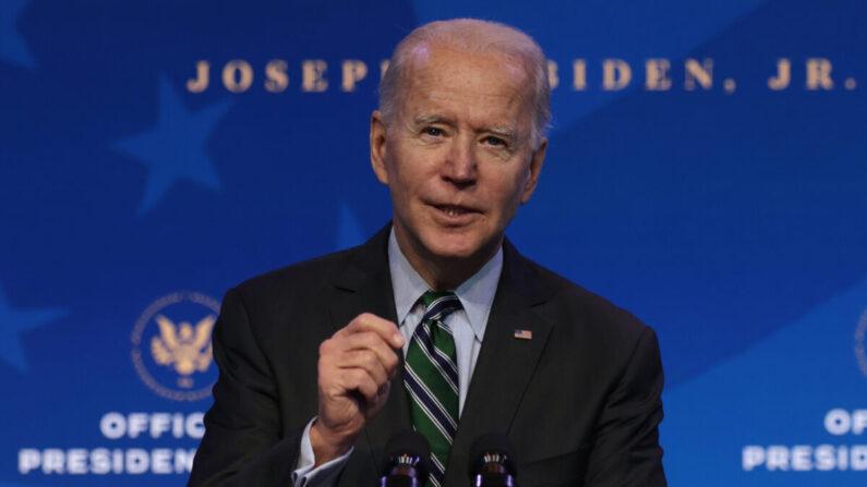 지난 1월 16일(현지시각) 조 바이든 대통령 당선자가 델라웨어주 윌밍턴의 퀸 시아터에서 발언하고 있다. | Alex Wong/Getty Images