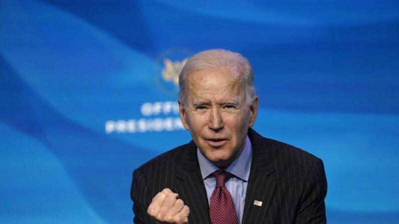 조 바이든 미국 대통령 당선자가 지난 2021년 1월 8일(현지시각) 발언하고 있다. | AP Photo/Susan Walsh=연합
