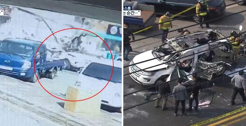 도심 한복판서 SUV '폭발'하자 신속 대처로 운전자 살린 시민 영웅들