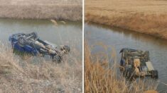 하천에 추락해 익사 위기에 빠진 트럭 속 노부부를 구조한 시민