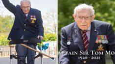 코로나 의료진 위해 '600억' 모금한 100세 노인, 코로나19로 세상 떠났다
