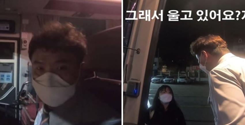 늦은 밤 지갑 잃어버려 울고있는 여대생에 '택시비' 쥐어준 버스기사 (영상)