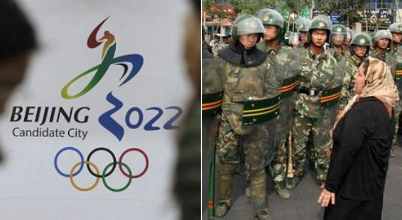 [좌] 2022 베이징 올림픽, [우] 중국 공안과 신장위구르자치구 주민 / 연합뉴스