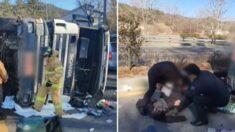 쓰러진 덤프트럭 속 의식 잃은 운전자에게 일어난 기적