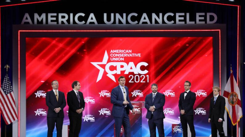 미국 보수진영 최대 연례행사 '보수정치행동회의'(CPAC)  2021 행사가 2021년 2월 26일(현지시각) 미국 플로리다주 올랜도 하얏트 레전시 호텔에서 개막했다.    Joe Raedle/Getty Images