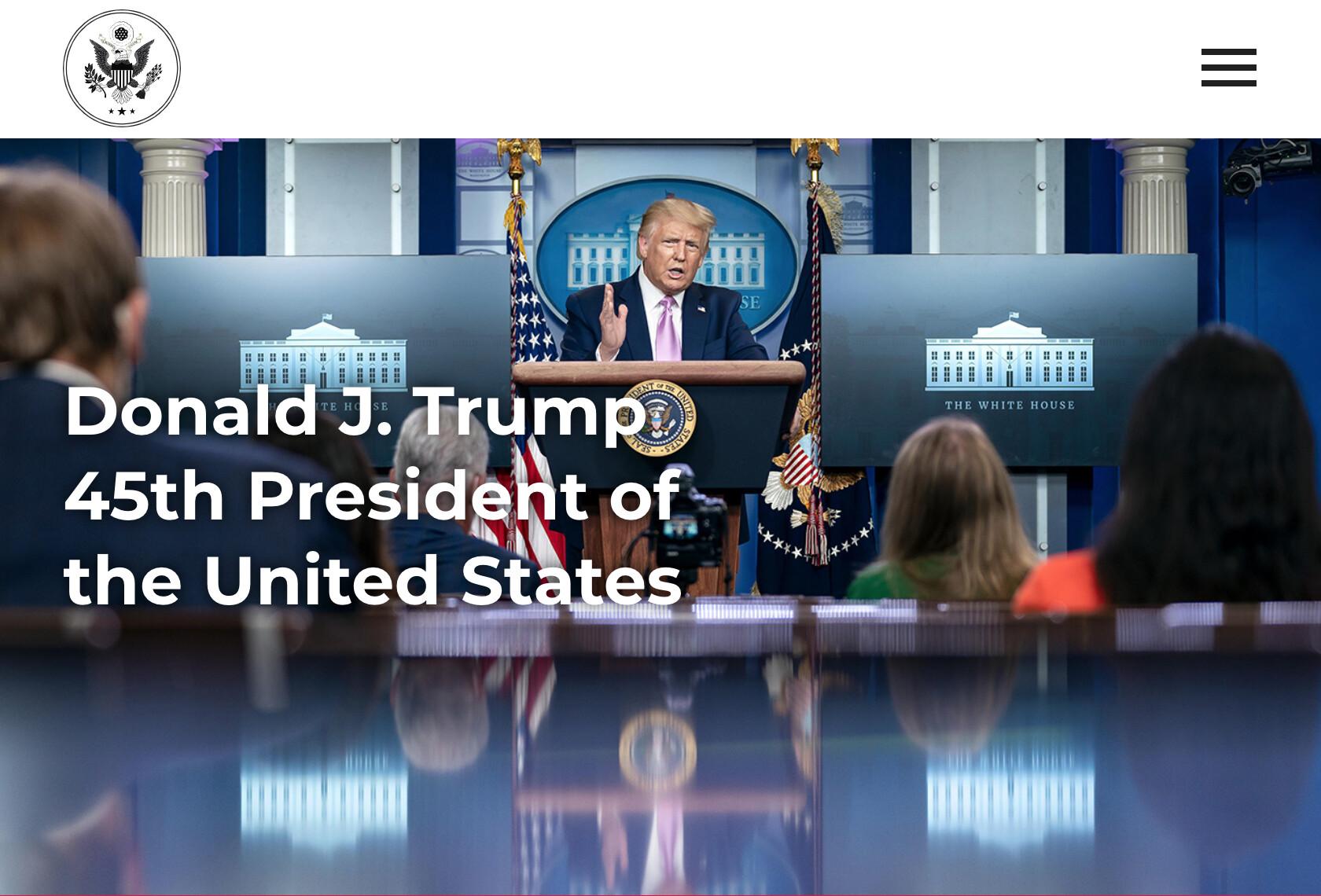 """트럼프, 공식 홈페이지 개설 """"제45대 대통령 사무실"""""""