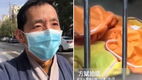 작년 2월 중국 후베이성 우한 실상을 알린 중국인 시민기자 팡빈(좌)과 그가 촬영한 우한 병원 내부에 쌓인 시체 백(우)   화면 캡처