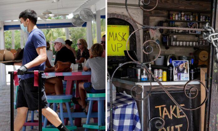 지난해 6월 정상 운영 중인 미국 플로리다의 한 카페(좌), 지난 1월 영업이 중단된 캘리포니아의 한 레스토랑(우)   Lynne Sladky/AP; Damian Dovarganes/AP, File 연합